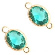 Tussenstukken van crystal glas 8x10mm Emerald blue zircon crystal-gold