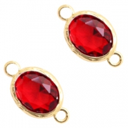 Tussenstukken van crystal glas 8x10mm Siam red crystal-gold