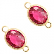 Tussenstukken van crystal glas 8x10mm Indian pink crystal-gold