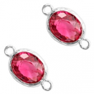 Tussenstukken van crystal glas 8x10mm Indian pink crystal-silver