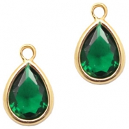 Hangers van crystal glas druppel 6x8mm Classic green crystal-gold