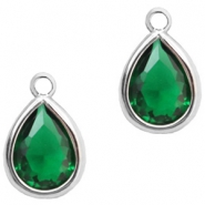 Hangers van crystal glas druppel 6x8mm Classic green crystal-silver