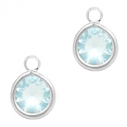 Hangers van crystal glas rond 6mm Light blue crystal-silver