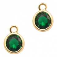 Hangers van crystal glas rond 6mm Classic green crystal-gold