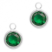 Hangers van crystal glas rond 6mm Classic green crystal-silver