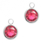 Hangers van crystal glas rond 6mm Indian pink crystal-silver