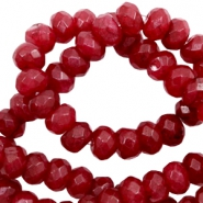 4 mm natuursteen kralen disc facet geslepen Warm deep red