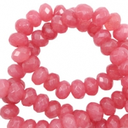 4 mm natuursteen kralen disc facet geslepen Vintage dark coral red