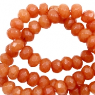 6 mm natuursteen kralen disc facet geslepen Warm orange