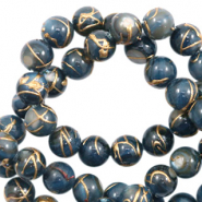 Schelp kralen rond 8mm gold line Dark blue