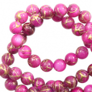 Schelp kralen rond 6mm gold line Purple pink