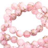 Schelp kralen rond 6mm gold line Light pink