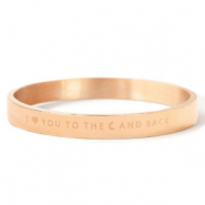 "Roestvrij stalen (RVS) Stainless steel armbanden ""I LOVE YOU TO THE MOON AND BACK"" Rosé goud"