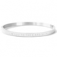 "Roestvrij stalen (RVS) Stainless steel armbanden ""I LOVE YOU TO THE MOON AND BACK"" Silver"