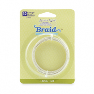 Artistic Wire 12 Gauge braid round Tarnish Resistant Silver