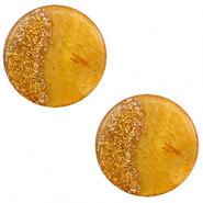 12 mm platte cabochon Polaris Elements Stardust Caramel yellow