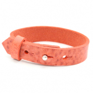 Cuoio armbanden leer 15 mm voor 20 mm cabochon Living coral red