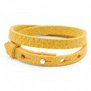 Cuoio armbanden leer 8 mm dubbel voor 12 mm cabochon Mineral yellow