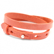Cuoio armbanden leer 8 mm dubbel voor 12 mm cabochon Living coral red