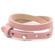 Cuoio armbanden leer 8 mm dubbel voor 12 mm cabochon Rose dawn pink