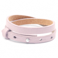 Cuoio armbanden leer 8 mm dubbel voor 12 mm cabochon Light orchid pink