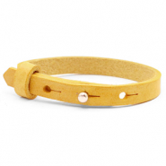 Cuoio armbanden leer 8 mm voor 12 mm cabochon Mineral yellow