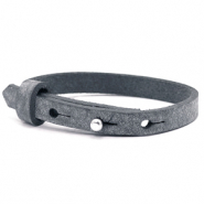 Cuoio armbanden leer kids 8mm voor 12mm cabochon Anthracite black