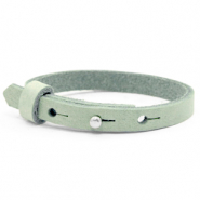 Cuoio armbanden leer kids 8mm voor 12mm cabochon Meadow green