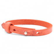 Cuoio armbanden leer kids 8mm voor 12mm cabochon Living coral red
