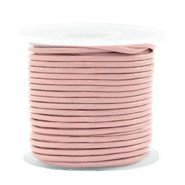 DQ leer rond 1 mm Dark blossom pink metallic