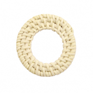 Geweven rotan hanger rond 30mm Naturel beige