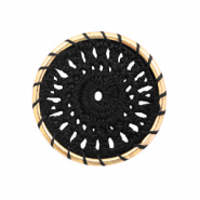 Gehaakte hanger rond 33mm Gold-black