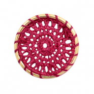 Gehaakte hanger rond 33mm Gold-port red