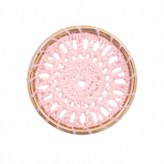 Gehaakte hanger rond 33mm Gold-light pink