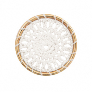 Gehaakte hanger rond 33mm Gold-white