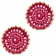 Gehaakte hanger rond 22mm Gold-port red