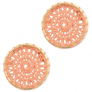 Gehaakte hanger rond 22mm Gold-peachy orange