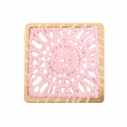 Gehaakte hanger vierkant Gold-light pink