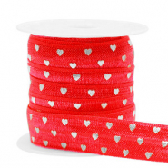 Elastisch lint hearts Red-silver
