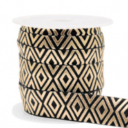 Elastisch lint Art Deco Black-gold