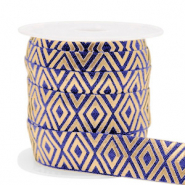 Elastisch lint Art Deco Dark blue-gold