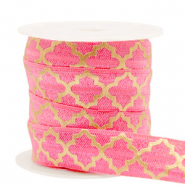 Elastisch lint Moroccan pattern Rouge pink-gold