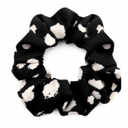 Scrunchies haarelastiek dots print Black