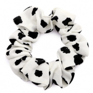 Scrunchies haarelastiek dots print Off-white