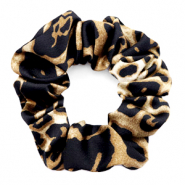 Scrunchies haarelastiek leopard print Black-brown