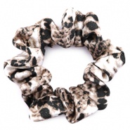 Scrunchies haarelastiek snake print Brown