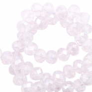 Top Facet kralen 8x6 mm disc Orchid ice rose opal-pearl shine coating