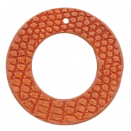 Imi leer hangers rond crocodile Coral red