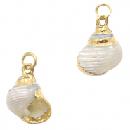 Schelp hangers specials Wulk Pearl cream white-gold
