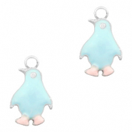 Basic Quality metalen bedels pinguïn Zilver-Light blue pink